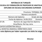 Diploma Çeviri Örneği, Örnek Diploma Çevirisi
